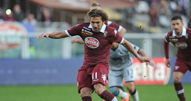 Alessio Cerci scores from the penalty spot