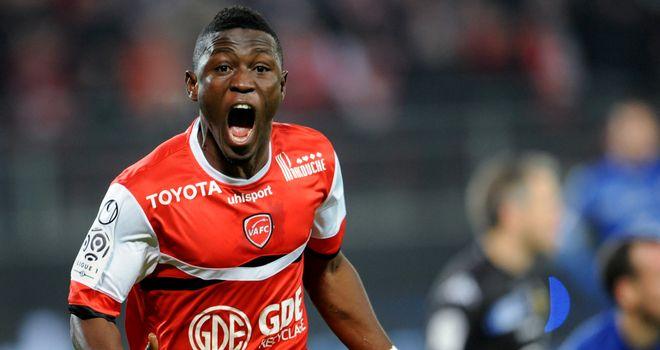 Valenciennes forward Majeed Waris celebrates