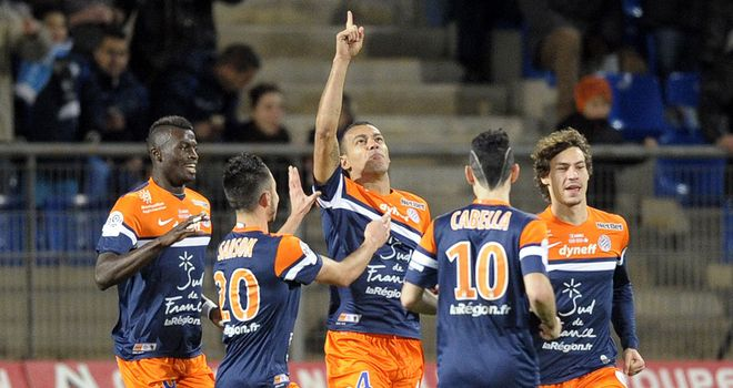 Vitorino Hilton is congratulated after scoring Montpellier's second
