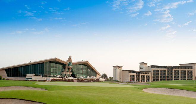 Westin Abu Dhabi Golf Resort Spa and the 18th hole at Abu Dhabi Golf Club