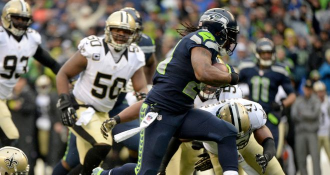 Marshawn Lynch scores against the Saints