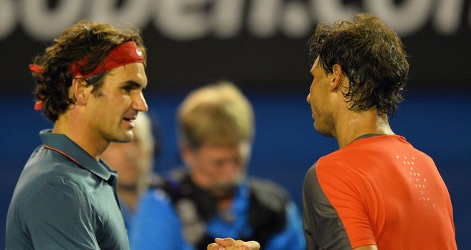 Roger Federer (left): Swiss has lost 23 of his 33 career meetings with Rafael Nadal