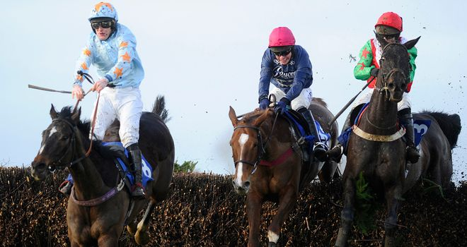 Flying Award (right) takes the last with a length still to find on Samstown (left)