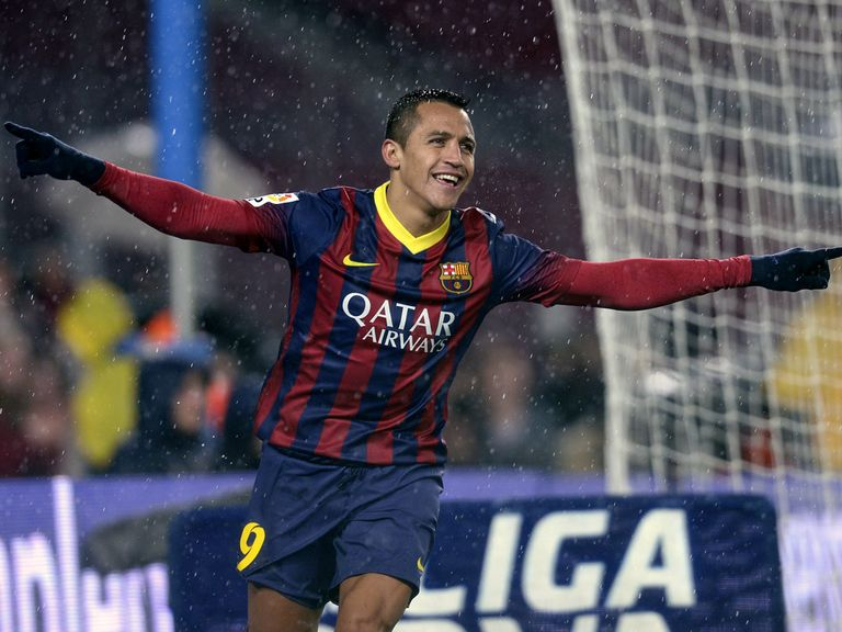 Barcelona's Alexis Sanchez celebrates