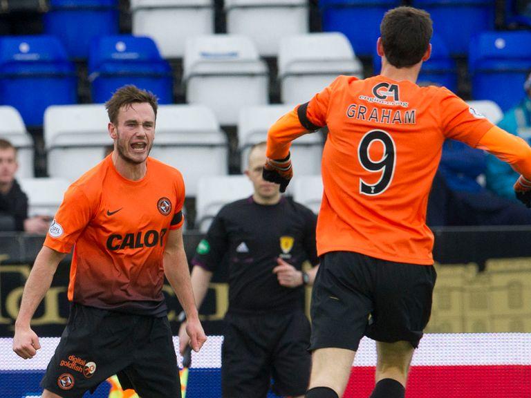 Dundee United defender Keith Watson celebrates