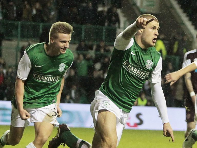 James Collins opens the scoring Hibernian