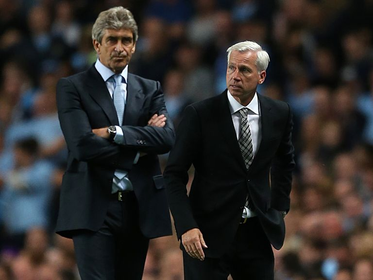 Pellegrini and Pardew pictured during Sunday's game