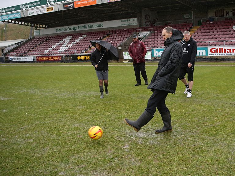 The Sixfields pitch was deemed unplayable
