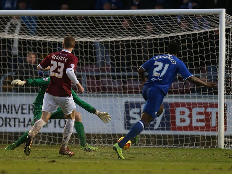 Armand Gnanduillet scores for Chesterfield at Northampton.