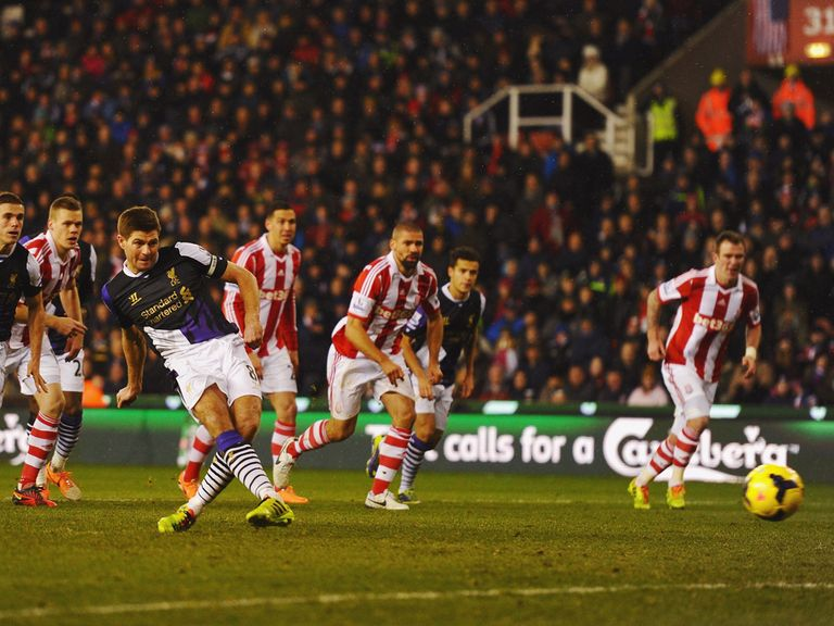 Steven Gerrard scored a penalty against Stoke