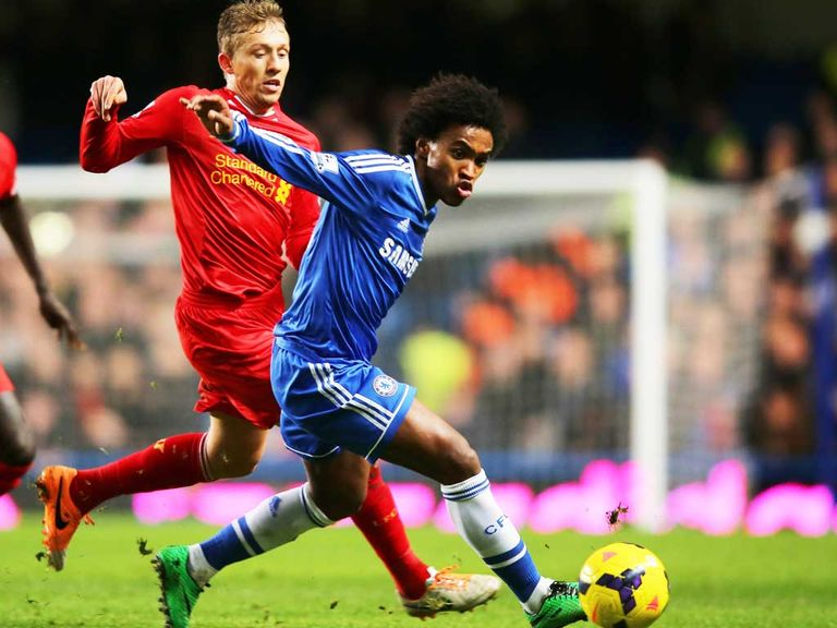 Willian (right) in action for Chelsea against Liverpool