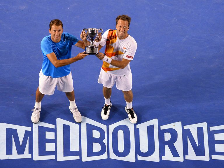 Kubot and Lindstedt celebrate their Australian Open win