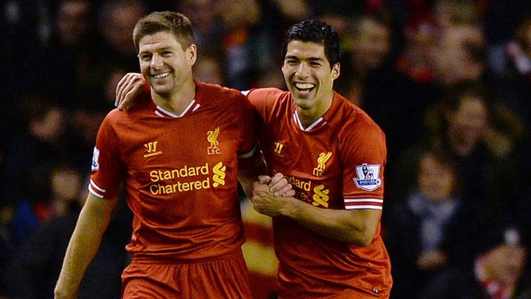 Steven Gerrard (L): Hopeful that Liverpool team-mate Luis Suarez (R) will miss Uruguay against England