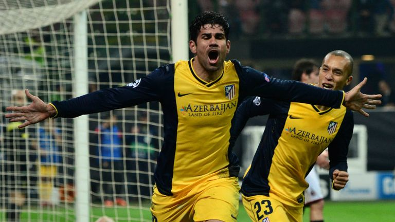 Goalscorer: Costa celebrates last night's winner against Milan