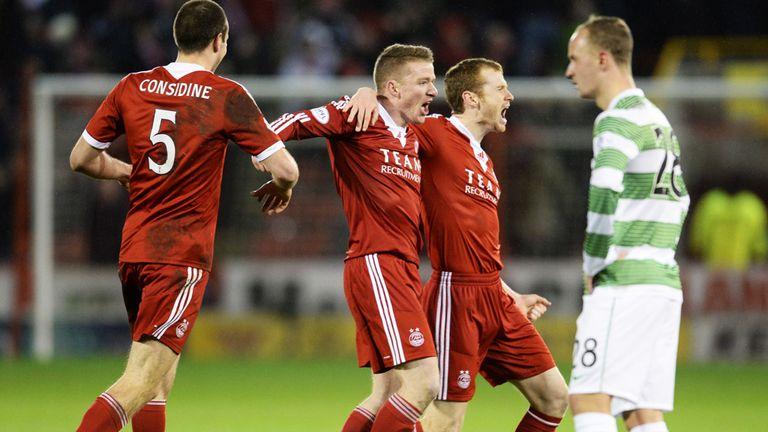 Jonny Hayes celebrates opening the scoring for Aberdeen