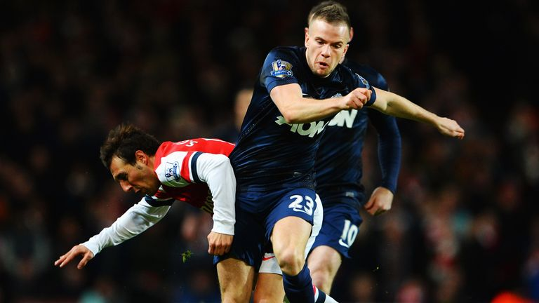 Tom Cleverley: Manchester United midfielder in action against Arsenal