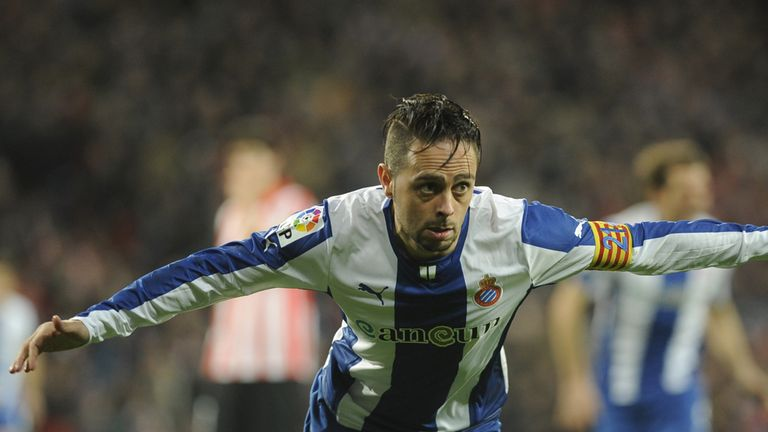 Espanyol's forward Sergio Garcia celebrates
