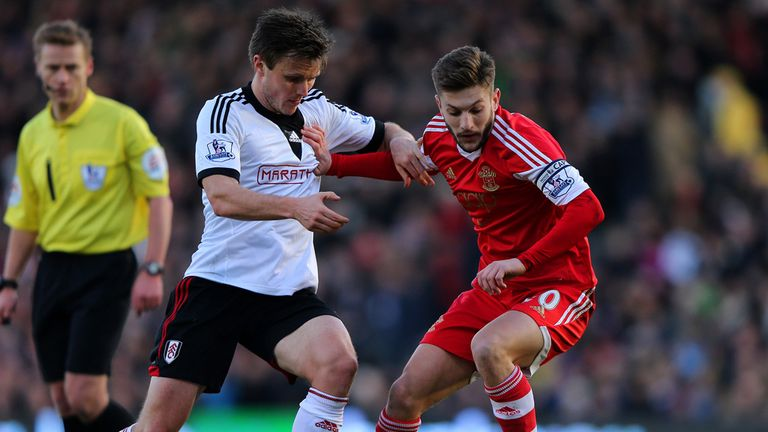 William Kvist: Fulham midfielder tangles with Southampton's Adam Lallana