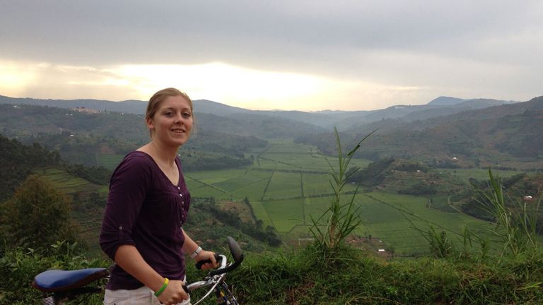 Heather takes in the sights while on a bike ride to the Sorwathe Tea plantation