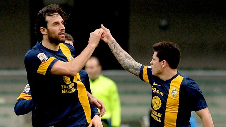 Luca Toni: Celebrates his goal for Hellas Verona