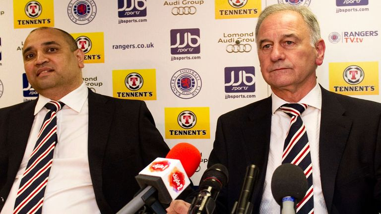 Imran Ahmad (left) and former Rangers chief executive Charles Green