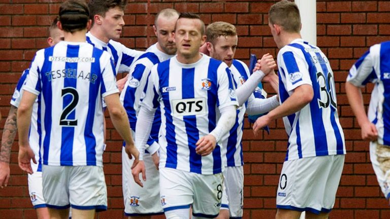 Kilmarnock celebrate their first half goal at Rugby Park
