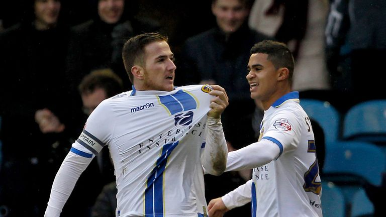 Ross McCormack (left): Celebrates one of his goals against Huddersfield