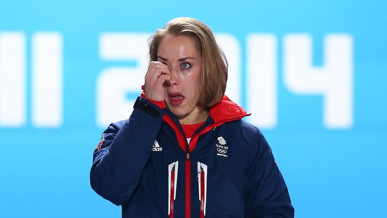 Yarnold sheds a tear after winning Olympic gold in Sochi