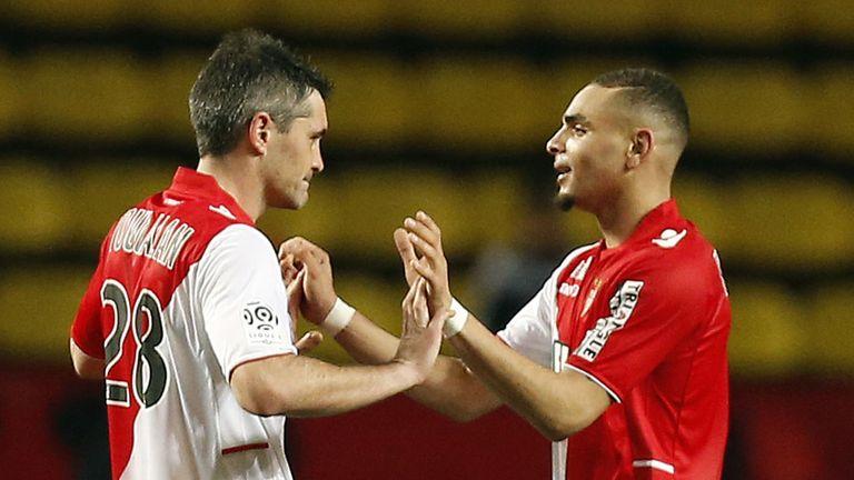 Layvin Kurzawa celebrates his goal for Monaco