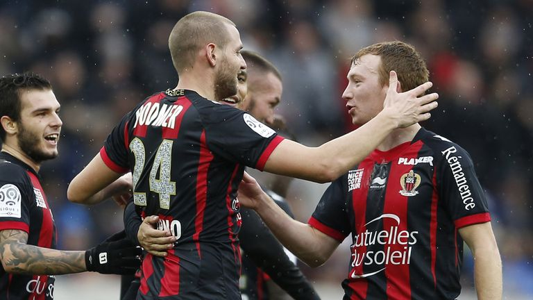 Nice: Celebrate Mathieu Bodmer's goal against Lille