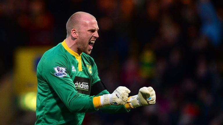 John Ruddy: Kept vital clean sheet at Carrow Road