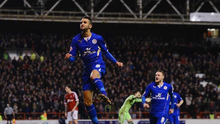 Riyad Mahrez: Celebrates his equaliser at the City Ground