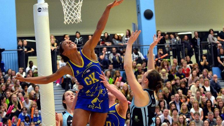 Rachel Dunn (R): The Surrey Storm goal shooter impressed. Photo by Ezra Rollinson