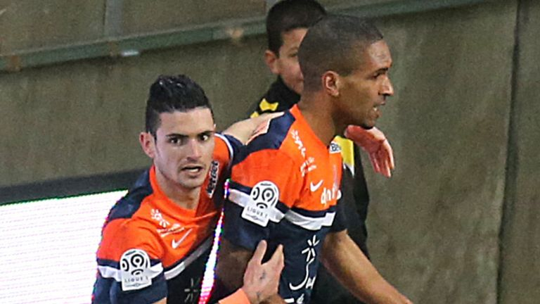 Montpellier's Joris Marveaux is congratulated