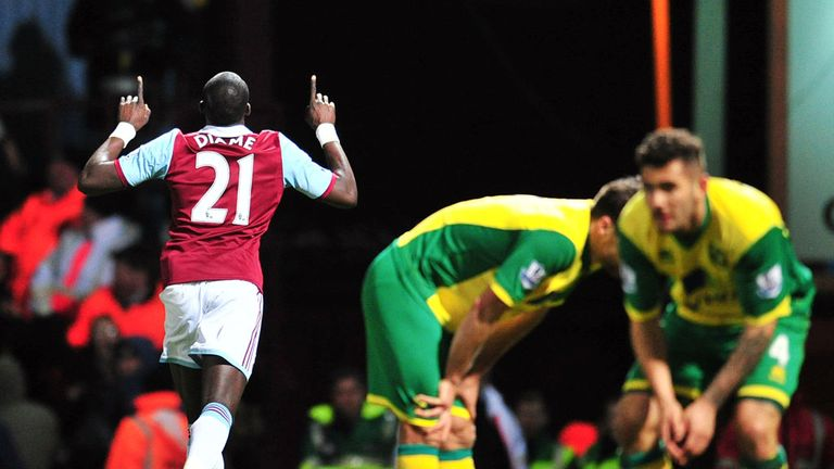 Mohamed Diame (l): Celebrates after finding the net against Norwich
