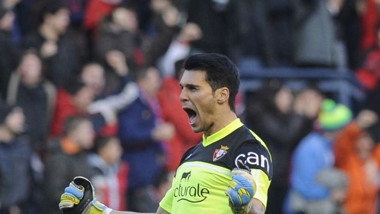 Andres Fernandez: Osasuna goalkeeper celebrates one of his team's goals