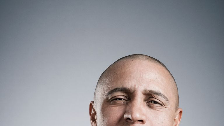 Roberto Carlos in contemplative mood as he is quizzed by Guillem Balague