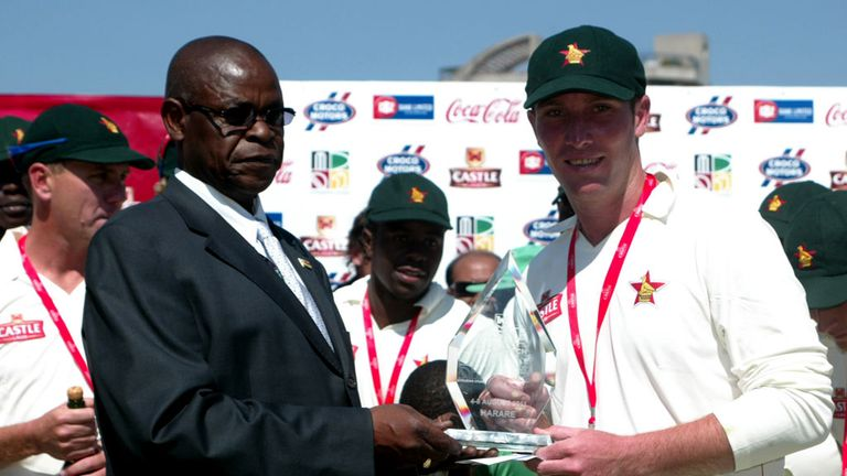 Zimbabwe Cricket chairman Peter Chingoka and captain Brendan Taylor