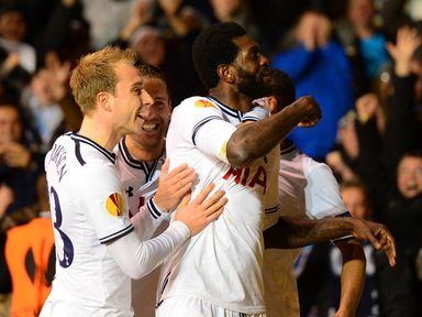 Celebrations for Emmanuel Adebayor and Tottenham