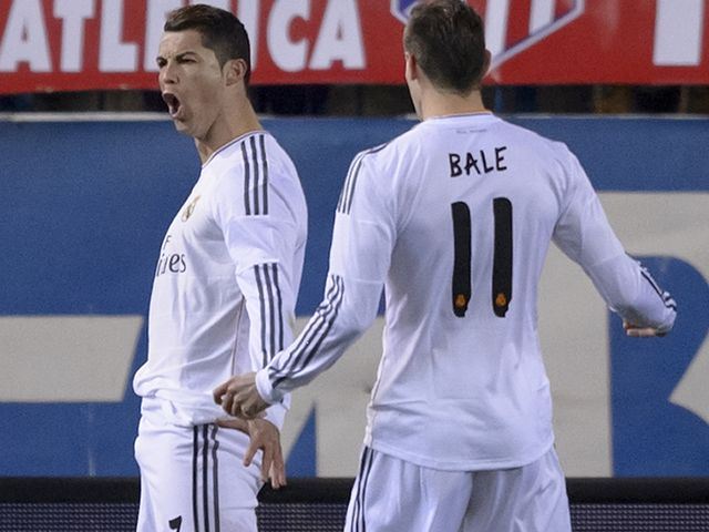 Ronaldo celebrates after netting at the Vicente Calderon