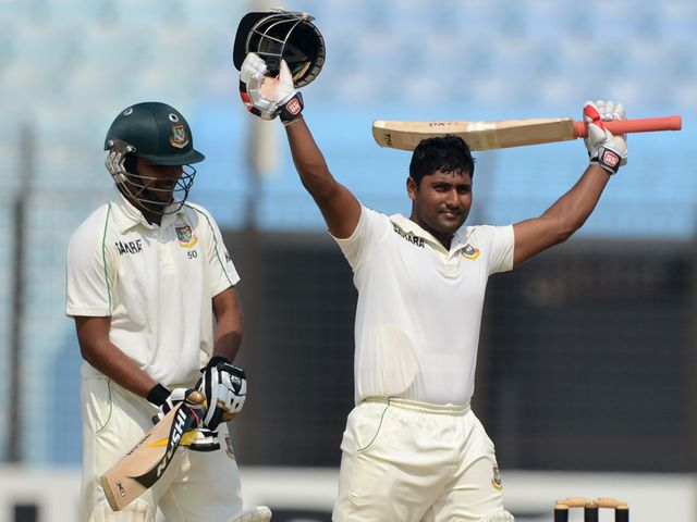 Imrul Kayes celebrates after scoring a century