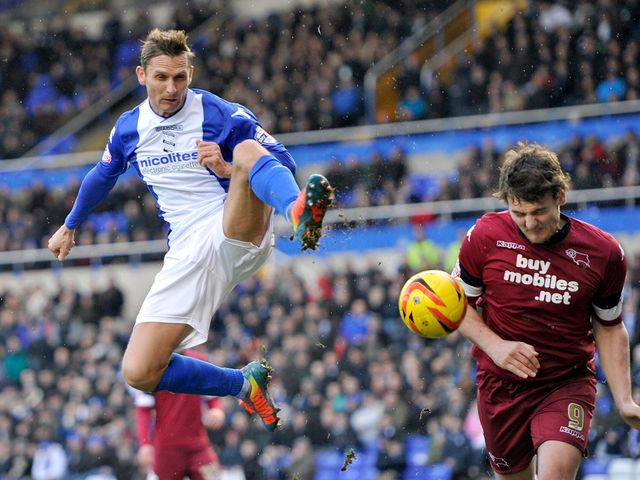 Birmingham's Peter Lovenkrands attempts a shot on goal