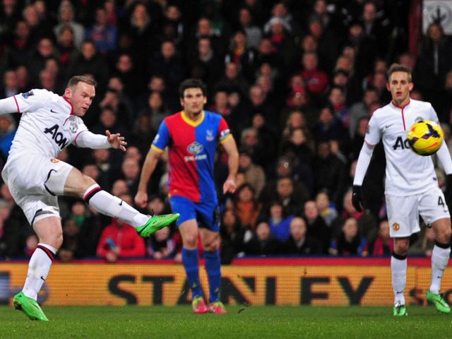 Manchester United's Wayne Rooney find the net with a volley