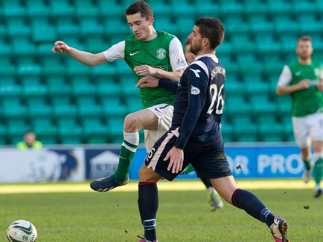 Alex Harris is challenged by Ross County's Evangelos Oikonomou