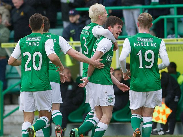 Sam Stanton celebrates his Hibs goal