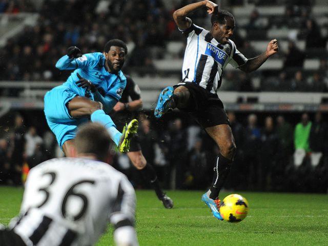 Emmanuel Adebayor scores his second of the game