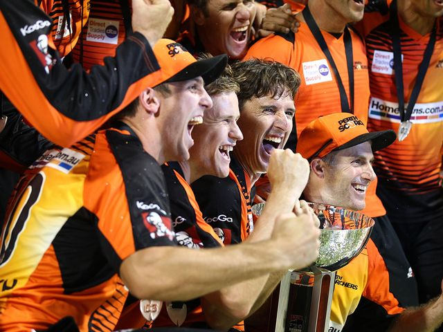 Perth Scorchers celebrate their Big Bash success