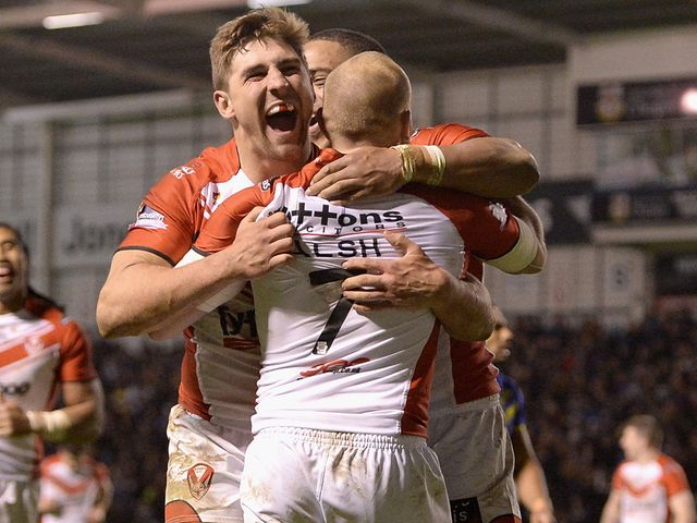 St Helens celebrate Luke Walsh's try