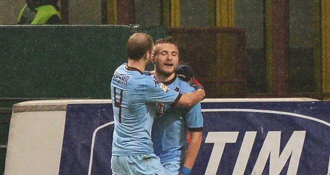 Torino forward Ciro Immobile celebrates