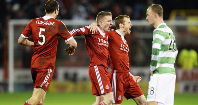 Jonny Hayes celebrates opening the scoring for Aberdeen